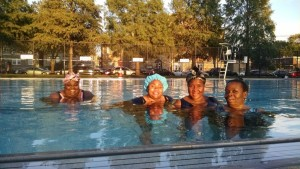 Relaxing after water aerobics at Mander